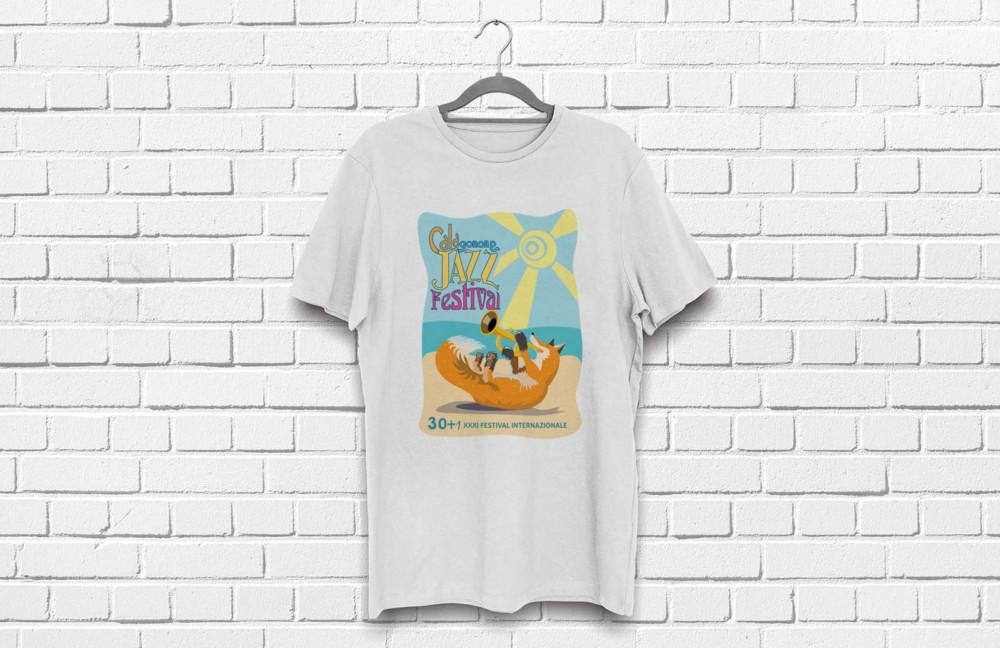 mockup t-shirt bianca per il Calagonone jazz 2018
