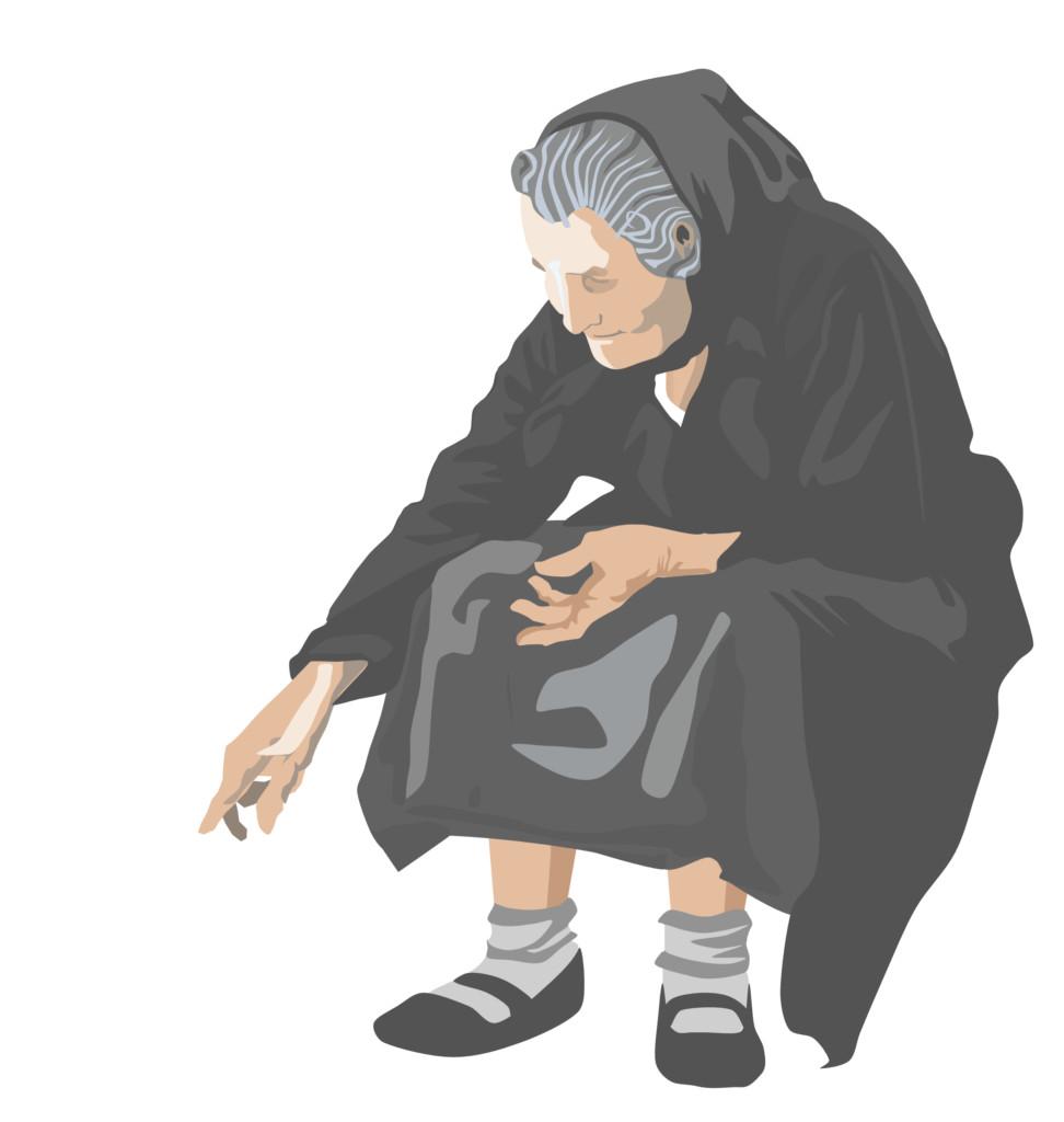 """bozza della signora anziana della grafica di """"contus de forredda"""""""