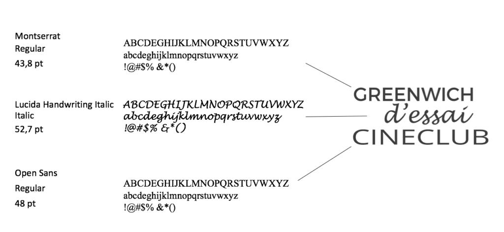 font usati per il logo del greenwich d'essai
