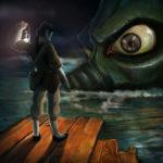 disegno digitale uomo con lanterna illumina un occhio di un coccodrillo gigante