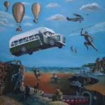quadro con scimmia che con una lancia sfida un furgone, mongolfiere in lontananza, un aereo e una città deserta e distrutta